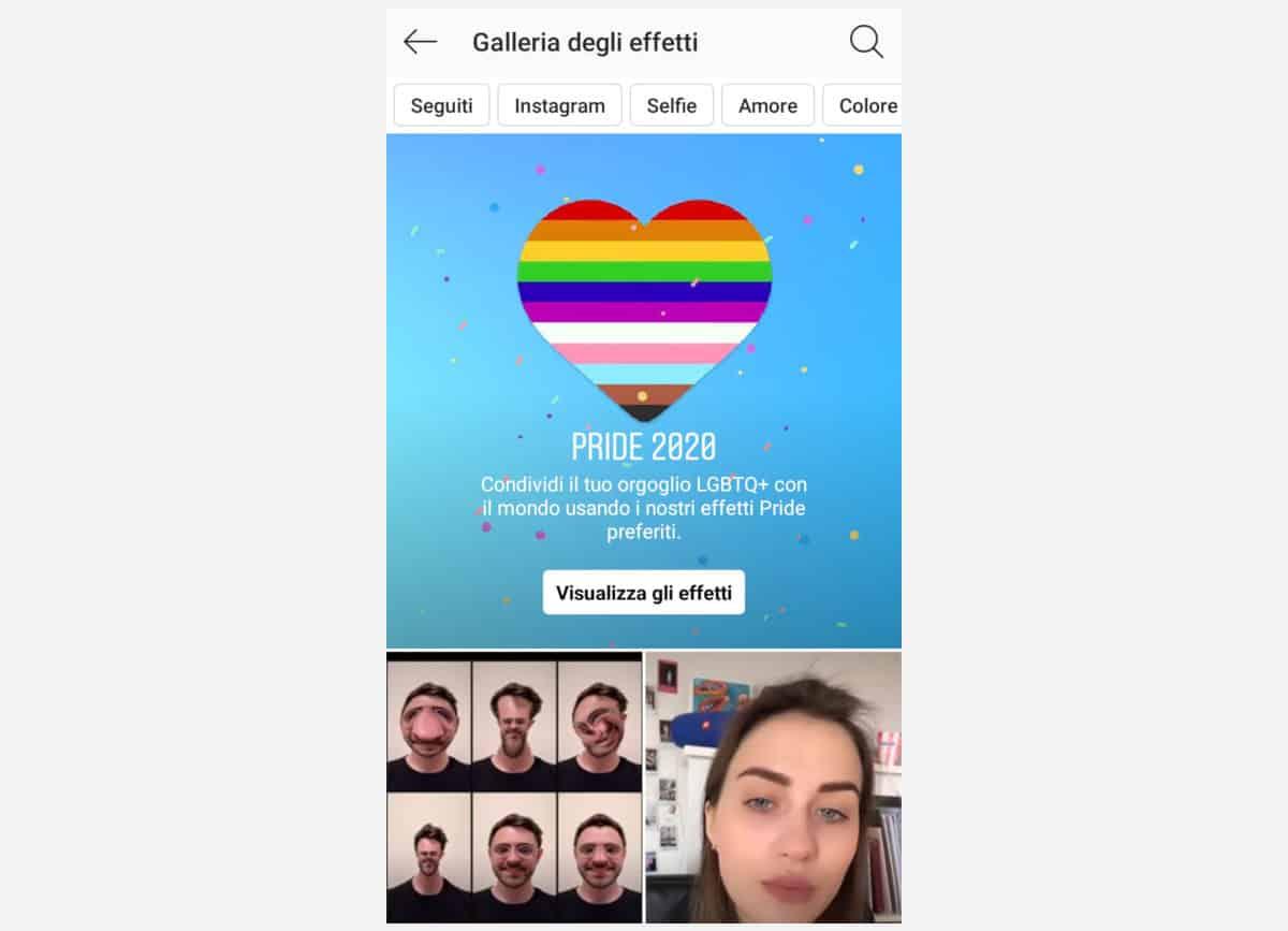 idee storie Instagram galleria filtri AR
