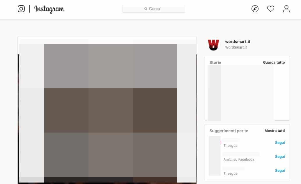 suggeriti Instagram sezione Suggerimenti per te IG Web