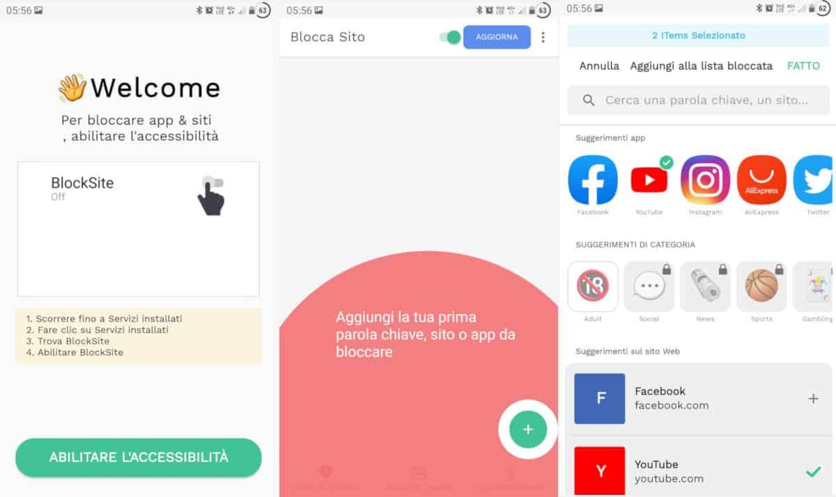 bloccare YouTube ai bambini app BlockSite Android