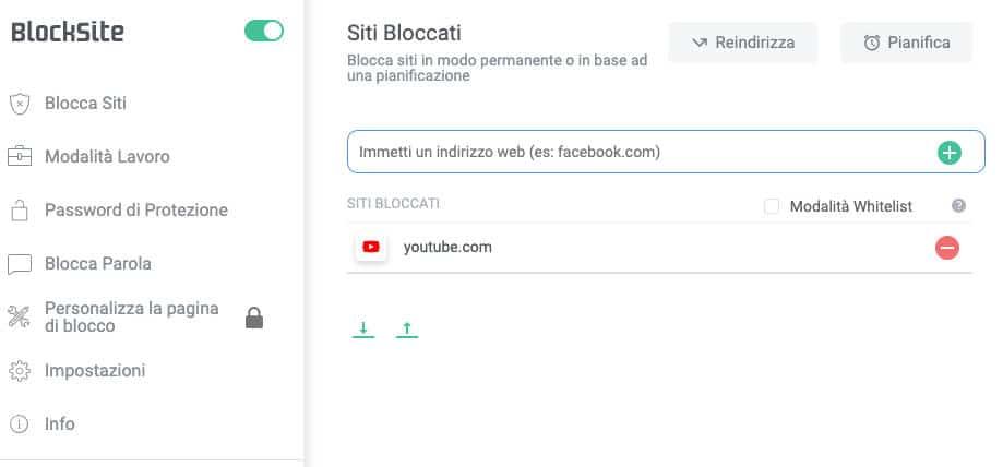 bloccare YouTube ai bambini estensione BlockSite Chrome