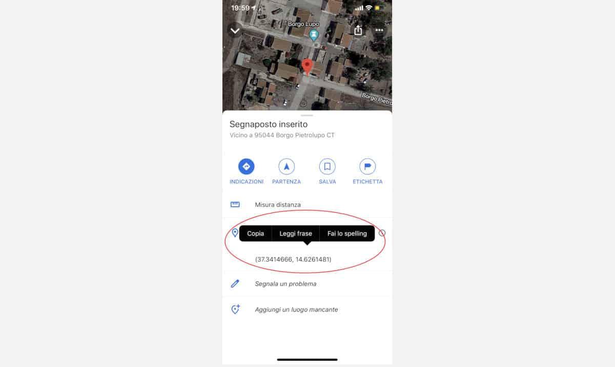 trovare le coordinate di un luogo con app Google Maps