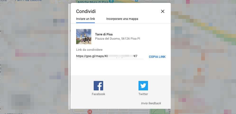 trovare le coordinate di un luogo condivisione Google Maps