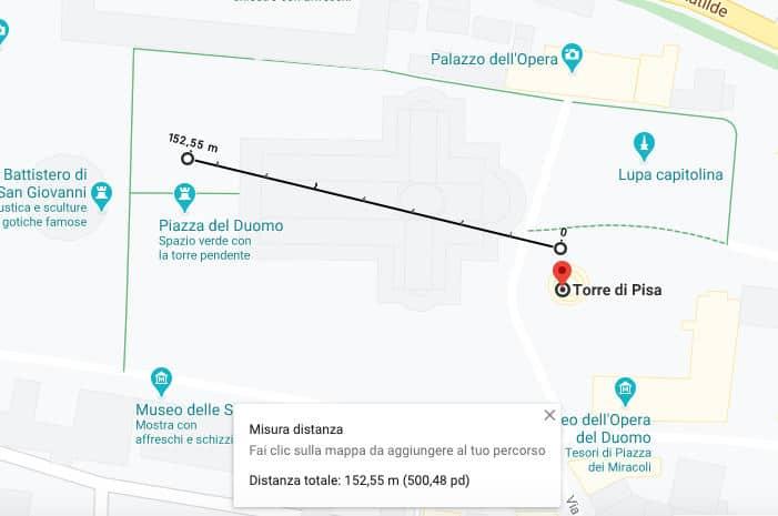 trovare le coordinate di un luogo misurazione distanze Google Maps