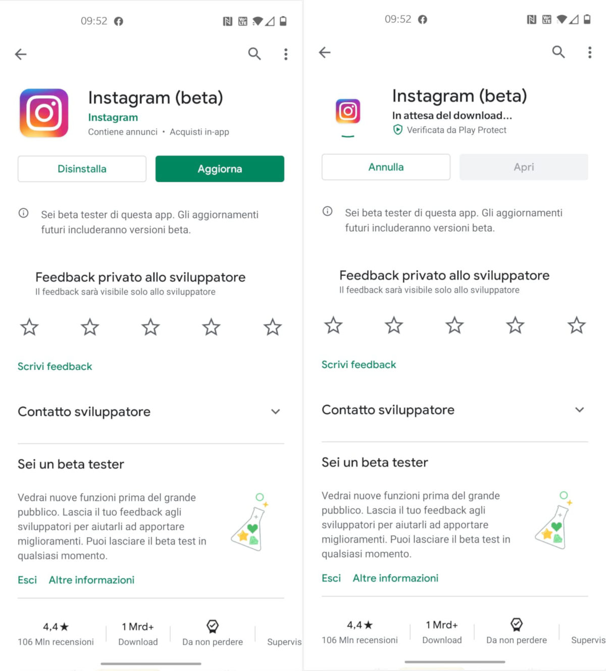 aggiornamento Instagram manuale Android Google Play