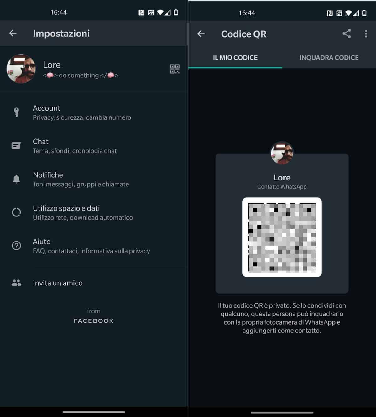 codice QR profilo WhatsApp