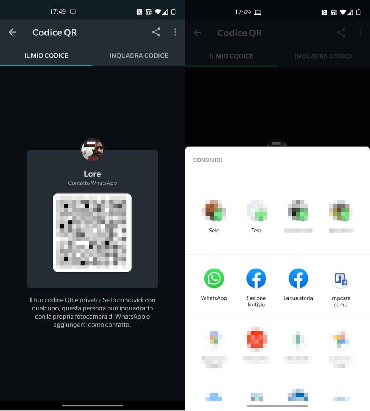 condivisione codice QR profilo WhatsApp