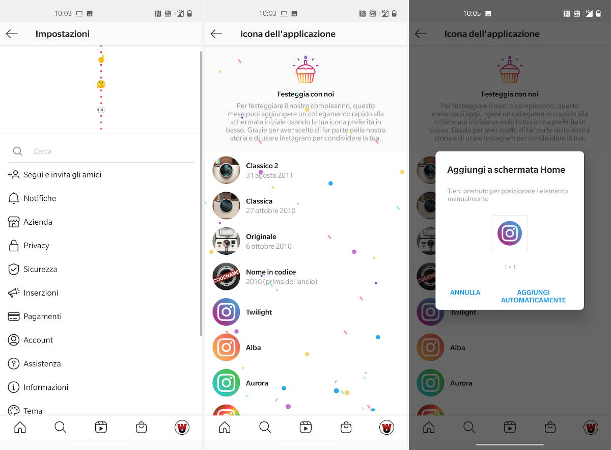 modifica icona Instagram Android