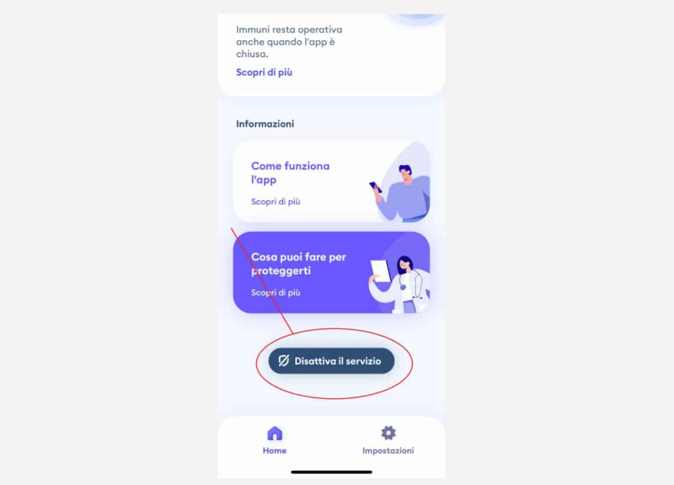 opzione Disattiva servizio app Immuni