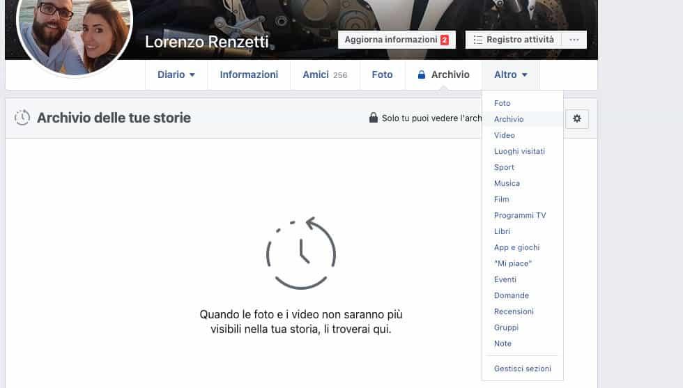 vedere archivio storie Facebook Web