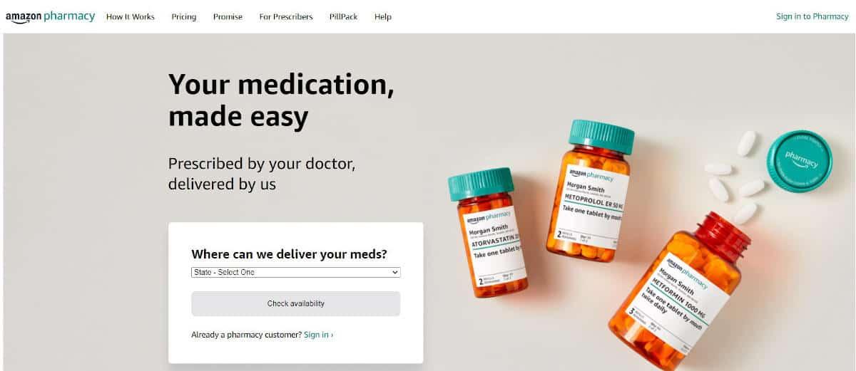 schermata iniziale di Amazon Pharmacy US