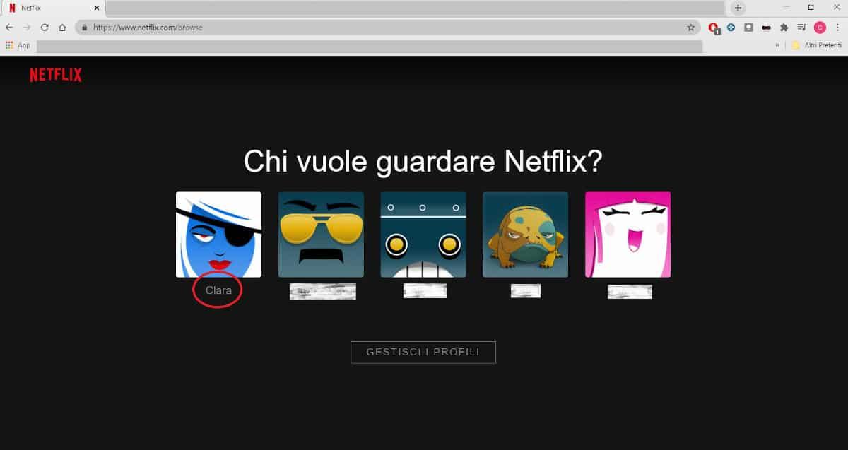 accesso cronologia profilo Netflix