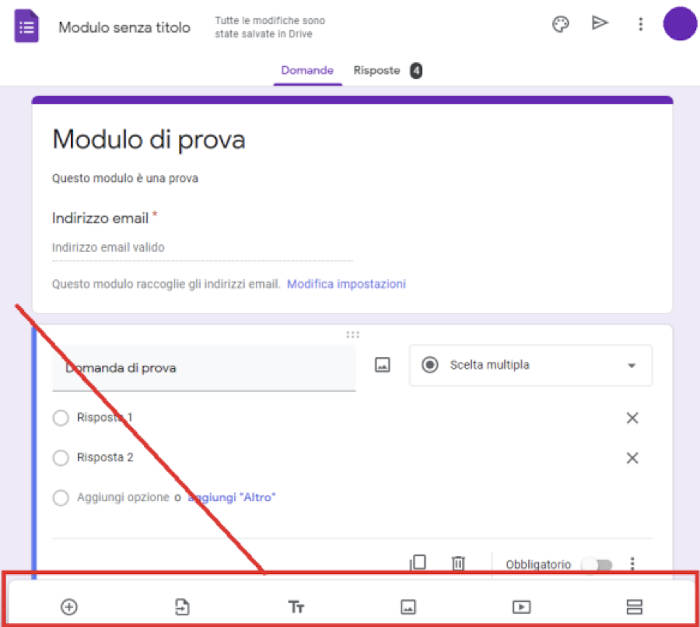 creazione modulo Google opzioni domanda
