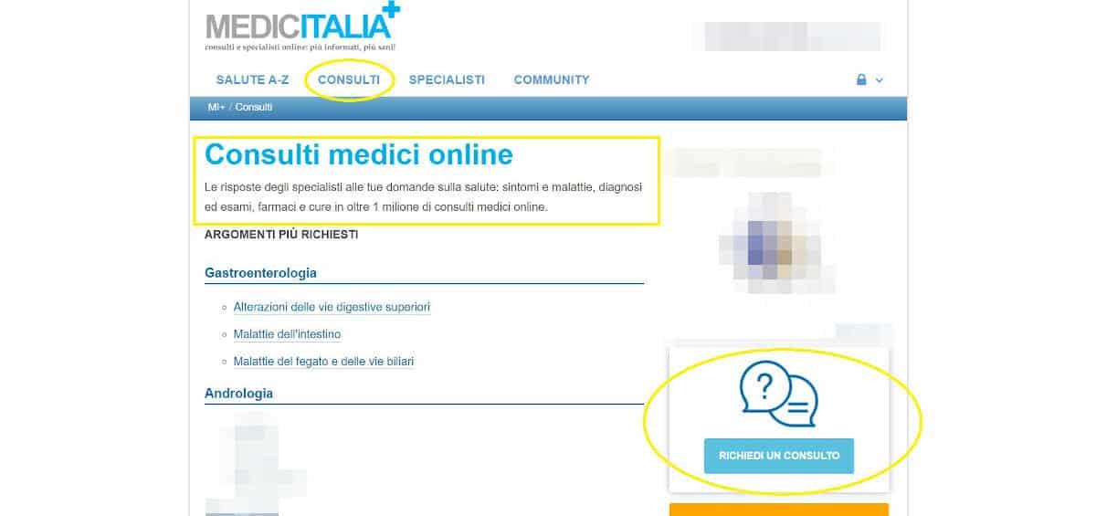 esempio consulto portale Medicitalia