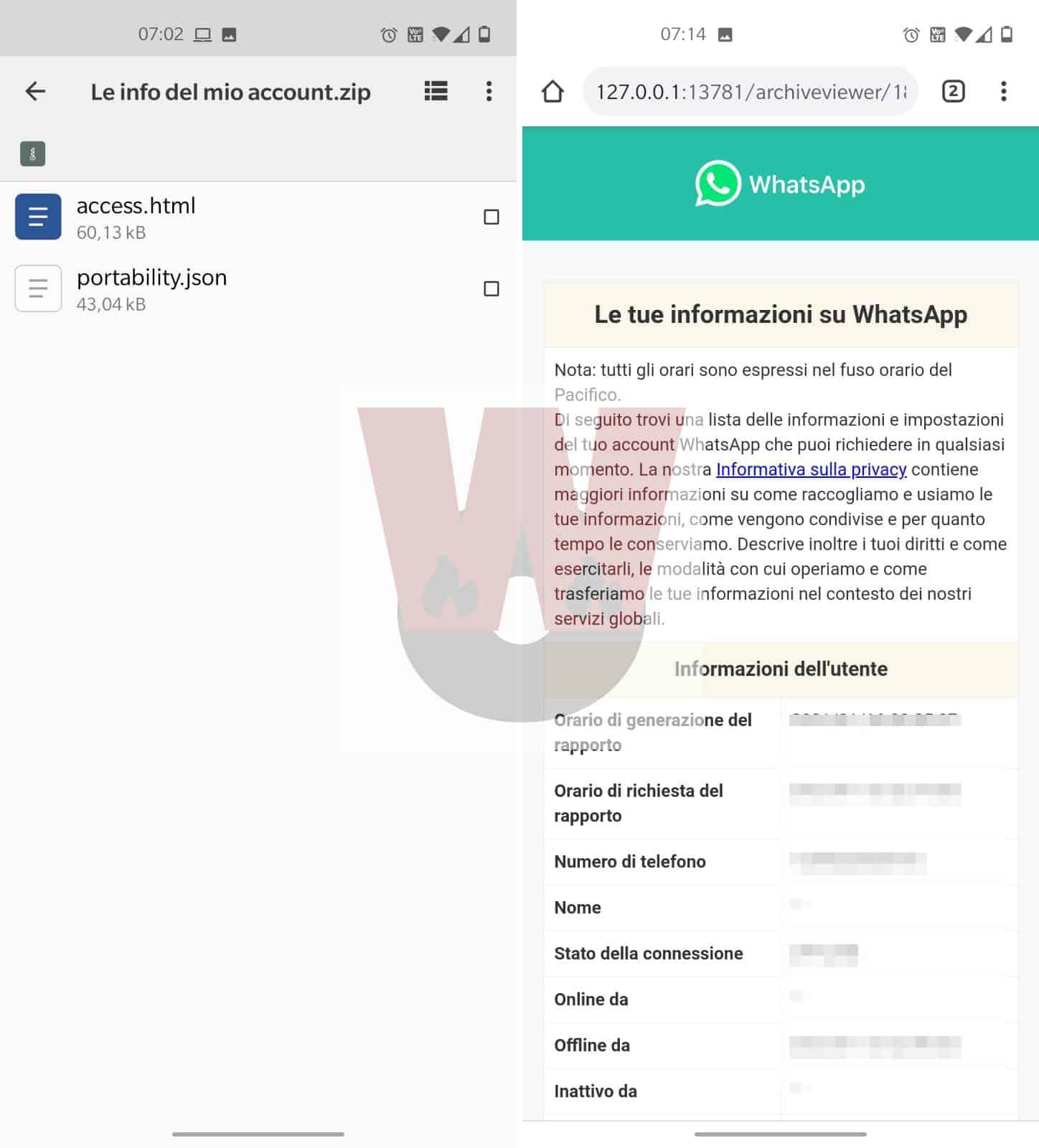 lettura info account WhatsApp