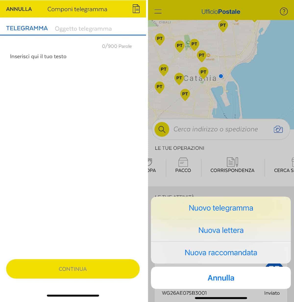 invio telegramma con app Ufficio Postale