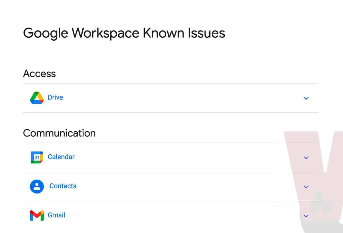 dashboard dei problemi noti dei servizi Google