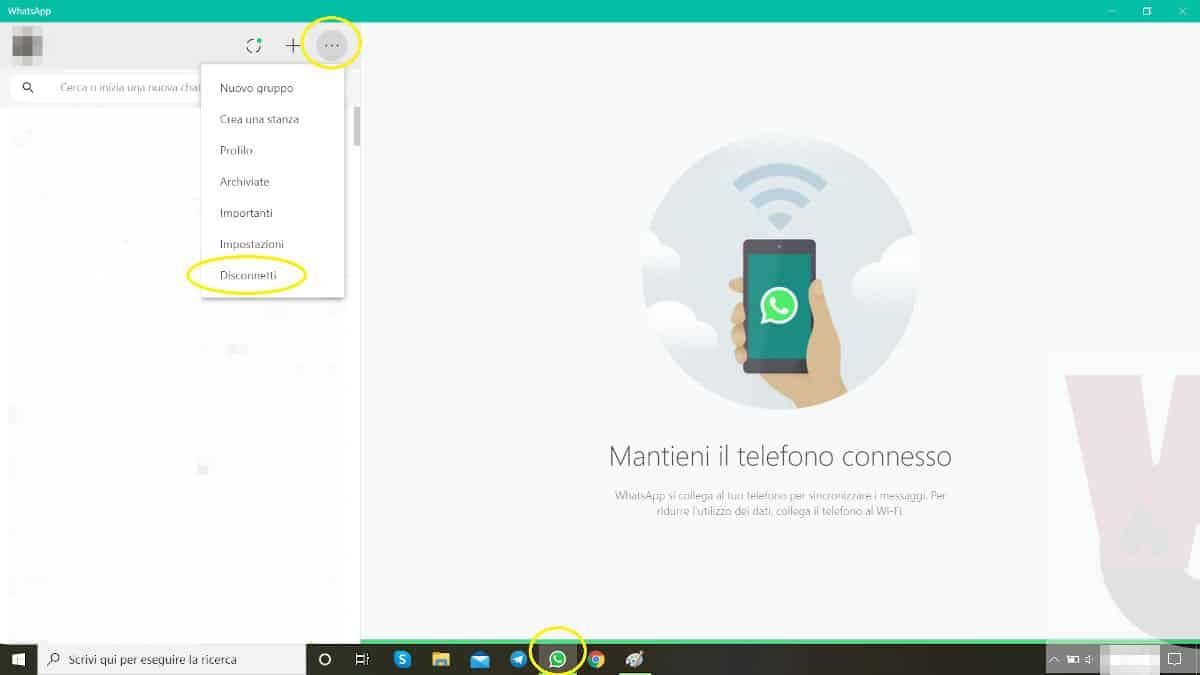 uscire da WhatsApp Desktop