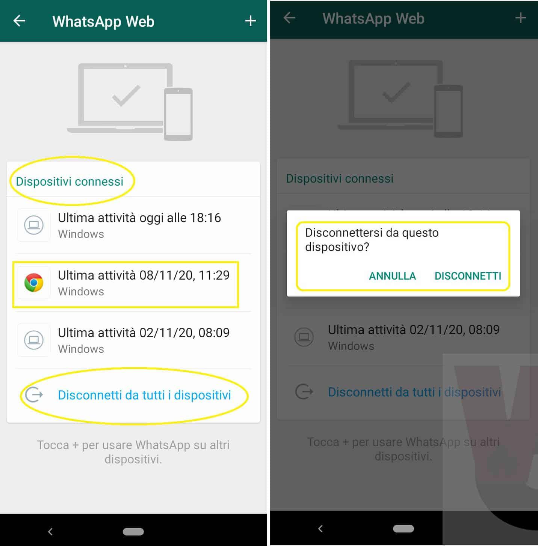 uscire da WhatsApp Web Desktop usando app mobile