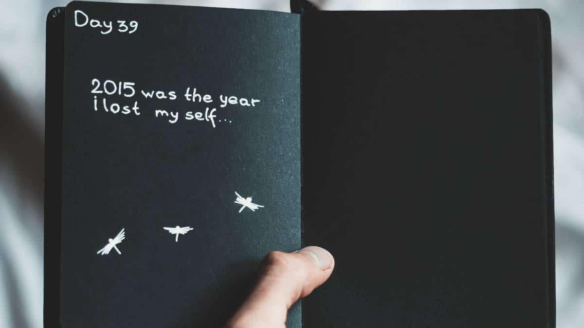 diario di colore nero che racconta attacco di panico depressione
