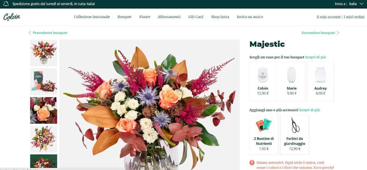 esempio invio fiori tramite Colvin