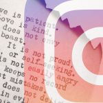 testo e frasi su foglio di carta bruciato con logo di Instagram