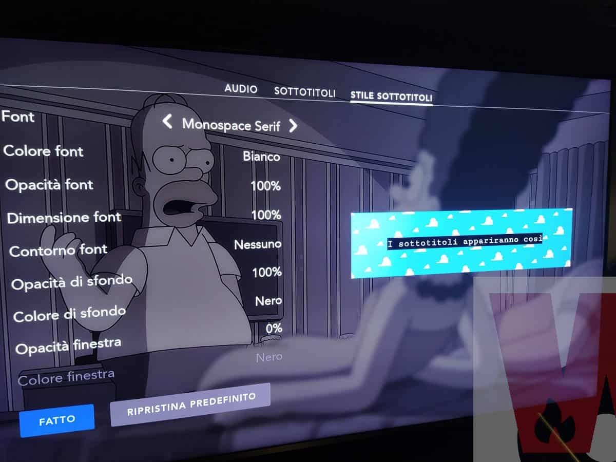 opzione Stile sottotitoli Disney+ smart TV