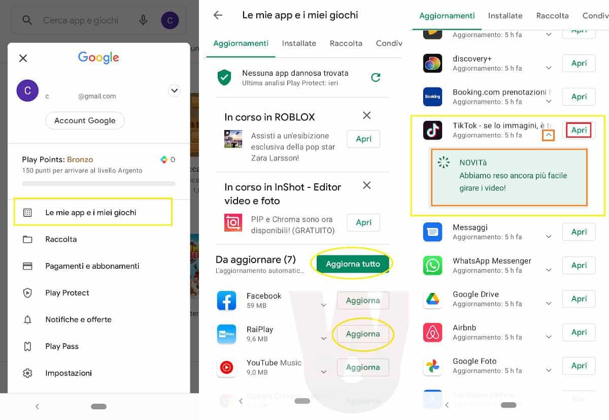 aggiornamento app TikTok Google Play