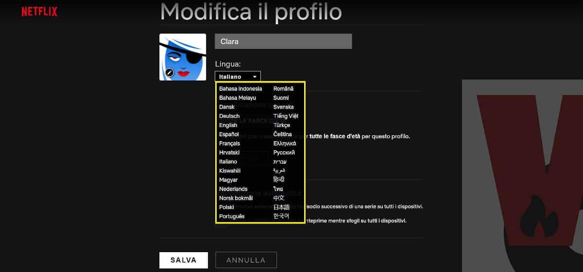 lingue disponibili profilo Netflix