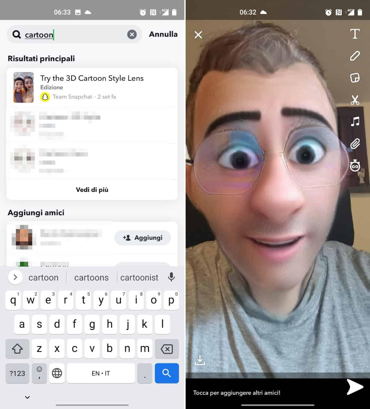 cartoonizzare la faccia Snapchat filtro Cartoon 3D Style