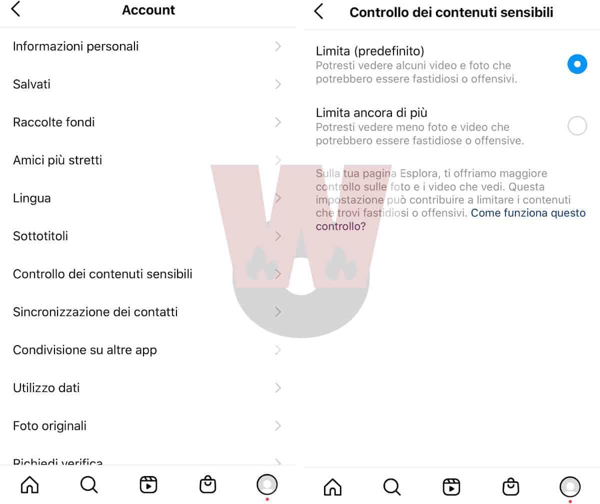 limitazione contenuti sensibili opzioni Instagram