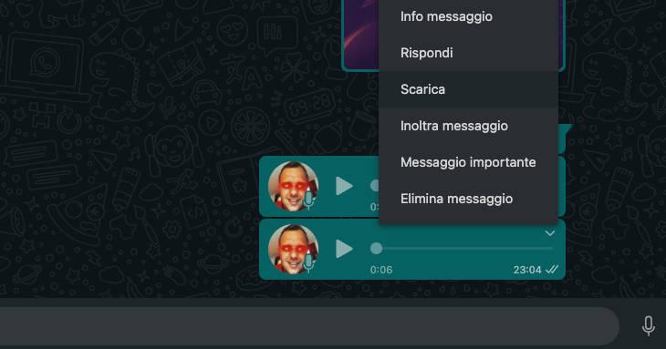 scaricare note vocali WhatsApp Web o Desktop PC opzione Scarica